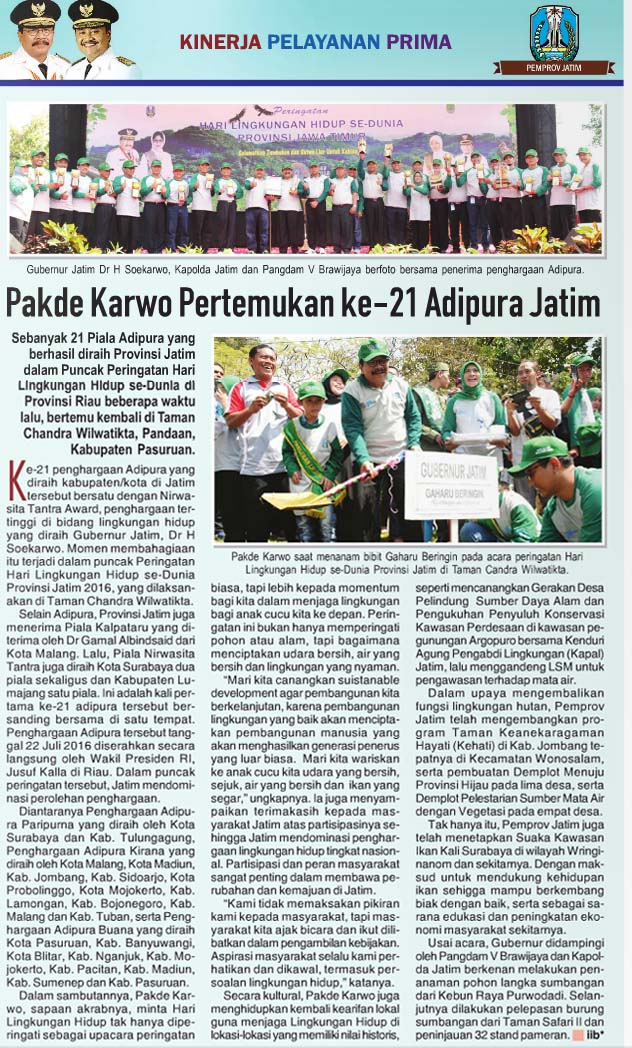 Pakde Karwo Pertemukan 21 Adipura