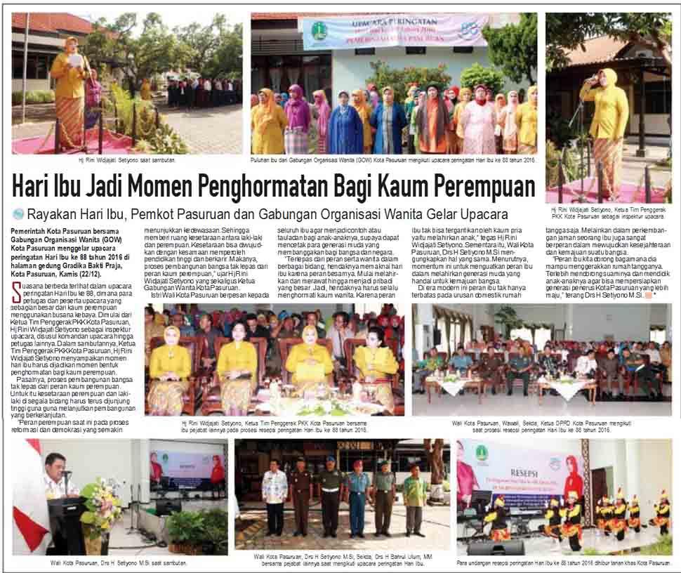 Pemkot Pasuruan dan Gabungan Organisasi Wanita Gelar Upacara Hari Ibu