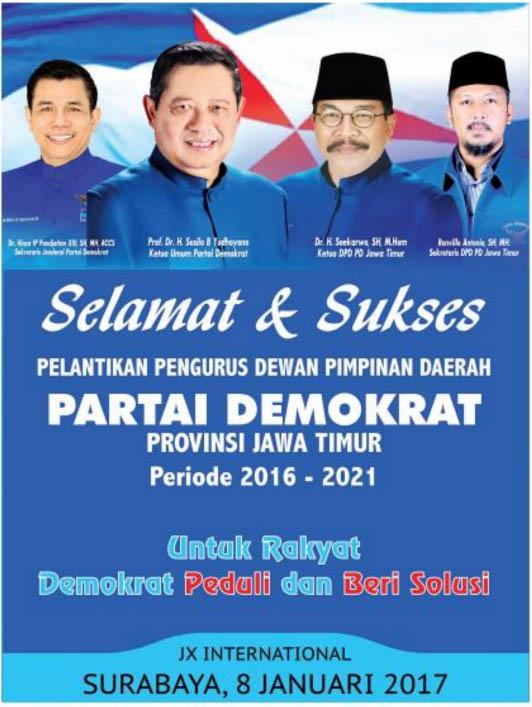 Pelantikan Pengurus DPD Partai Demokrat Jatim Periode 2016 – 2021