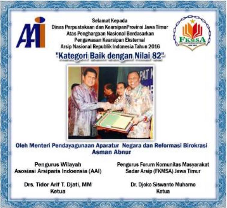 Dinas Perpustakaan dan Kearsipan Provinsi Jatim Raih Penghargaan