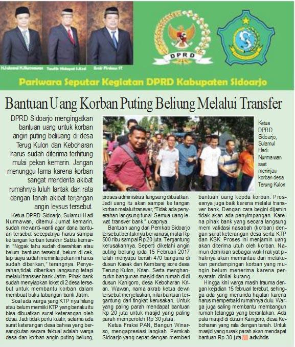 Bantuan Uang Korban Puting Beliung Sidoarjo Melalui Transfer