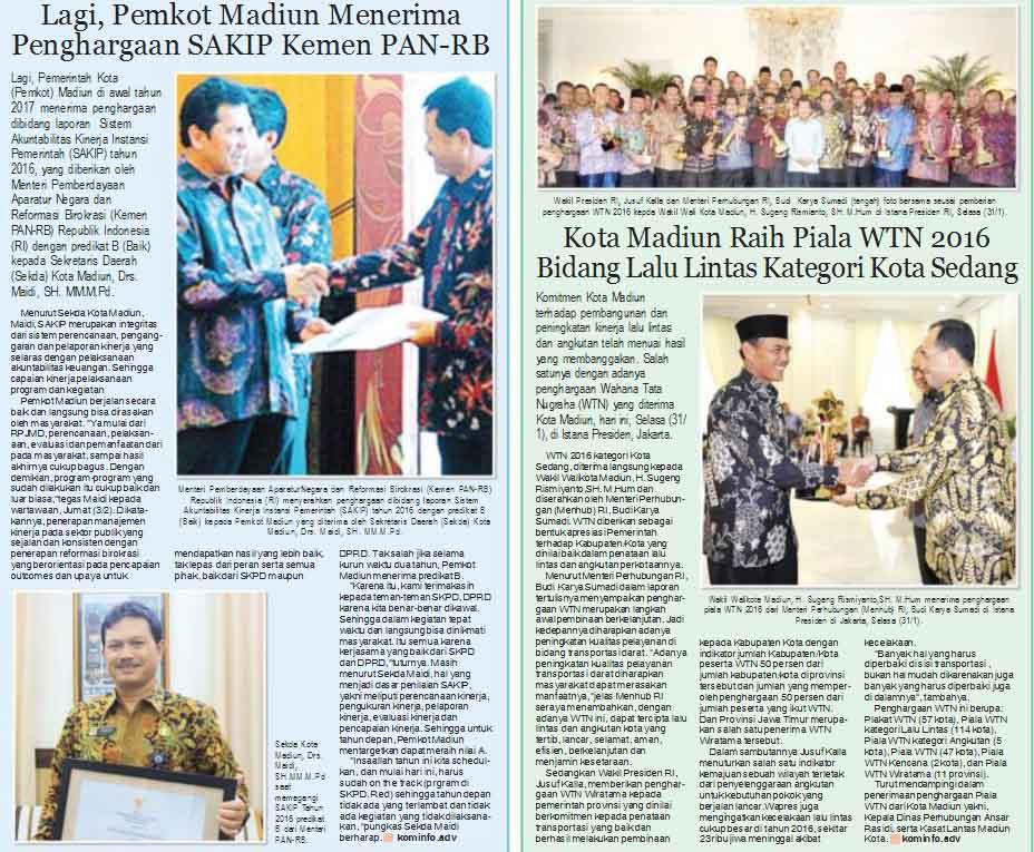 Pemkot Madiun Raih Penghargaan WTN dan SAKIP